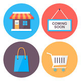 Shopping and retail flat style icons set Royalty Free Stock Images
