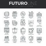 Shopping and Retail Futuro Line Icons Set Stock Photos