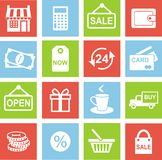 Shopping retail icons. Set of shopping icons in flat colorful style Stock Photography