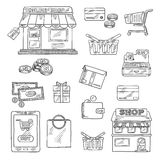 Shopping and retail icons set, sketch style royalty free illustration