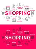 Shopping and retail outline icons stock illustration