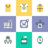 Shopping and retail pictogram icons set. Online shopping deals and discount for products, retail store elements and market goods objects. Unusual line icons set Royalty Free Stock Image