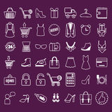 Shopping and Retail related icons set Royalty Free Stock Images