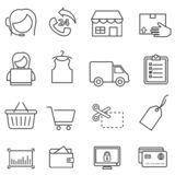 Shopping, retail, and online e-commerce line icon set royalty free illustration