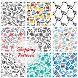 Shopping retail seamless vector patterns set stock illustration