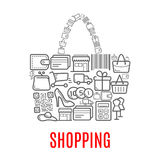 Shopping retail selling vector poster of shop bag vector illustration