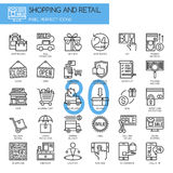 Shopping and Retail , thin line icons set Stock Images