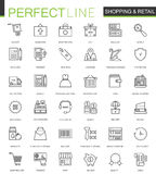 Shopping and retail thin line web icons set. Online shopping Outline stroke icons design. Shopping and retail thin line web icons set. Online shopping Outline Stock Photos
