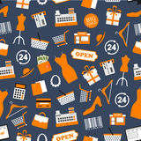 Shopping and retail vector seamless pattern stock illustration