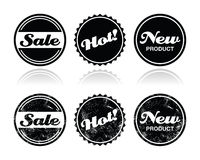 Shopping retro badges - sale, new, hot product Royalty Free Stock Photos