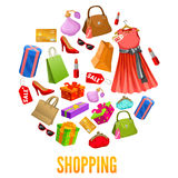 Shopping Round Compositions. With red dress and shoes bags and gift boxes parfume and cosmetic vector illustration Stock Photos