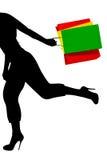 Shopping running girl Stock Images