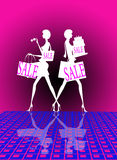 Shopping sale. An illustrated white silhouettes of two women carrying shopping bags and purchases with large Sale signs on them, on a bright, pinkish background Royalty Free Stock Images
