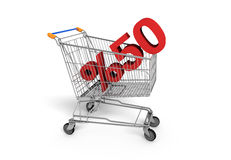 Shopping Sale - 50% Discount. Shopping chart white background Royalty Free Stock Images