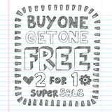 Shopping Sale Back to School Doodles Vector Design. Buy One Get One Free Sketchy Notebook Doodles Discount Sale Shopping Tag Hand-Drawn Illustration Design vector illustration