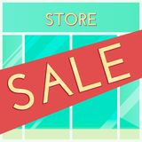 Shopping sale background. Cartoon style. Retail store window with sale sign. Vector illustration. stock illustration