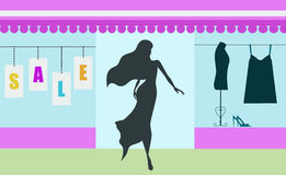Shopping sale banner with woman silhouette Stock Image