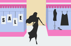 Shopping sale banner with woman silhouette Stock Photo