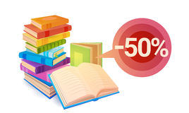Shopping Sale Books Stack Education Concept. Flat Vector Illustration Royalty Free Stock Photography
