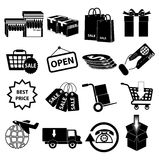 Shopping sale delivery icons set Stock Images