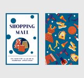 Shopping, sale or discount vector background for the online store, shop or promotional leaflet, promotion, poster. Shopping bags and goods two sides flat retro royalty free illustration