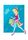 Shopping sale girl woman showing shopping bags. Shopping sale girl woman goes and showing shopping bags flat design cartoon style Royalty Free Stock Images