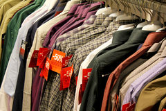 Shopping Sale - male shirts. 50% discount during winter Paris sales in the male closing section (shirts Royalty Free Stock Image