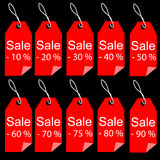 Shopping sale red tags labels set Royalty Free Stock Photos