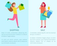 Shopping and Sale Two Posters Vector Illustration Stock Photos