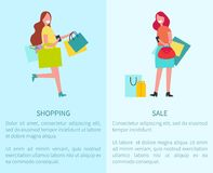 Shopping and Sale Set of Two Vector Illustration Royalty Free Stock Image