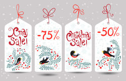 Shopping sale tags. Winter shopping sale tags set with birds Royalty Free Illustration