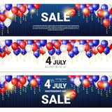 Shopping Sale To United States Independence Day Holiday 4 July Discount Banner Set Royalty Free Stock Photography