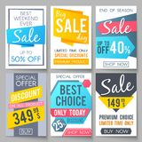 Shopping sale vector backgrounds. Retail promotional banners for web newsletter. Special sale and promotion poster, offer and promo illustration Royalty Free Stock Image