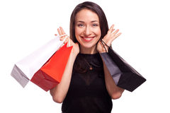 Shopping sale woman isolated on white Royalty Free Stock Photo