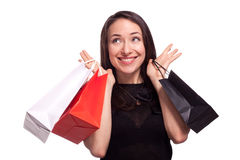 Shopping sale woman isolated on white Stock Image