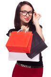Shopping sale woman isolated on white Stock Photography