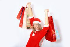 Shopping santa claus woman. Royalty Free Stock Photography