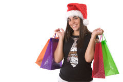 Shopping Santa woman Stock Photo