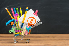 Shopping for school education supplies and  Back to School Royalty Free Stock Photos