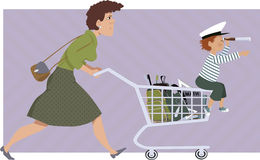 Shopping for school supplies Royalty Free Stock Images