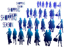 Shopping season, people silhouettes Royalty Free Stock Images