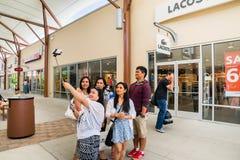 Shopping selfie stick Stock Photo