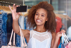 Shopping selfies time Royalty Free Stock Photos