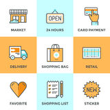 Shopping services line icons set Stock Image