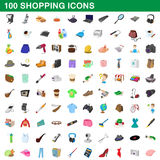 100 shopping set, cartoon style Royalty Free Stock Photo