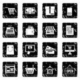 Shopping set icons, grunge style Stock Images