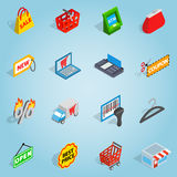Shopping set icons, isometric 3d style Royalty Free Stock Photography