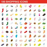 100 shopping set, isometric 3d style. 100 shopping icons set in isometric 3d style for any design illustration royalty free illustration