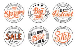Shopping set label template of emblem element for your product or design, web and mobile applications with text. Vector. Illustration with thin lines isolated Stock Photo