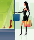 Shopping sexy girl. In city Royalty Free Stock Photos